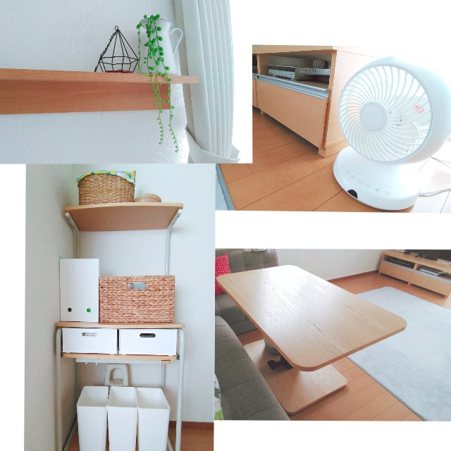 白と木目調で揃えた家具